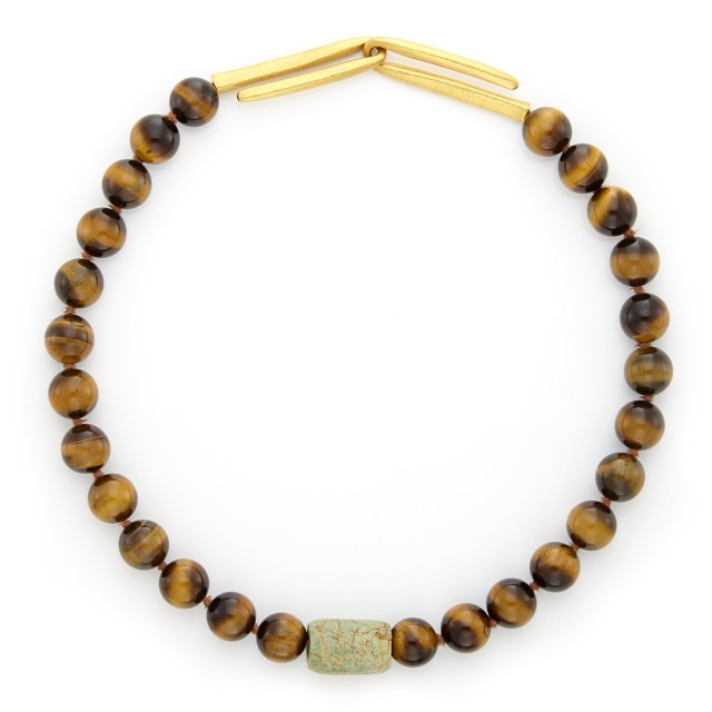 Tiger's Eye and Amazonite Bead Necklace with Gold Clasp, Linda Lee Johnson
