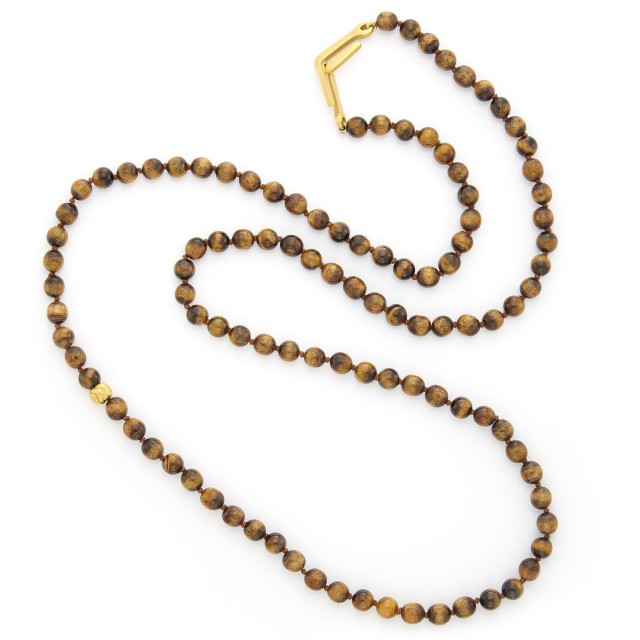 Long Tiger's Eye and Gold Bead Necklace, Linda Lee Johnson