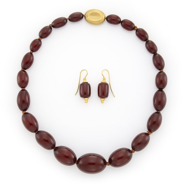 Amber Bead Necklace with Gold Clasp and Pair of Earrings, Linda Lee Johnson