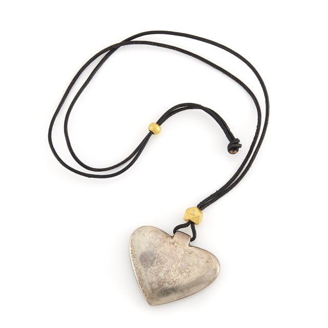 Silver Heart Pendant and Gold Beads on Leather Cord Necklace, Linda Lee Johnson
