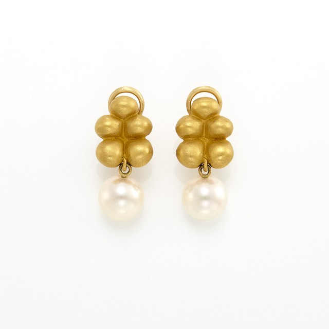 Pair of Gold, High Karat Gold and Cultured Pearl Pendant-Earclips, Linda Lee Johnson