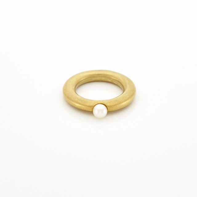 Gold and Cultured Pearl Ring, by Linda Lee Johnson