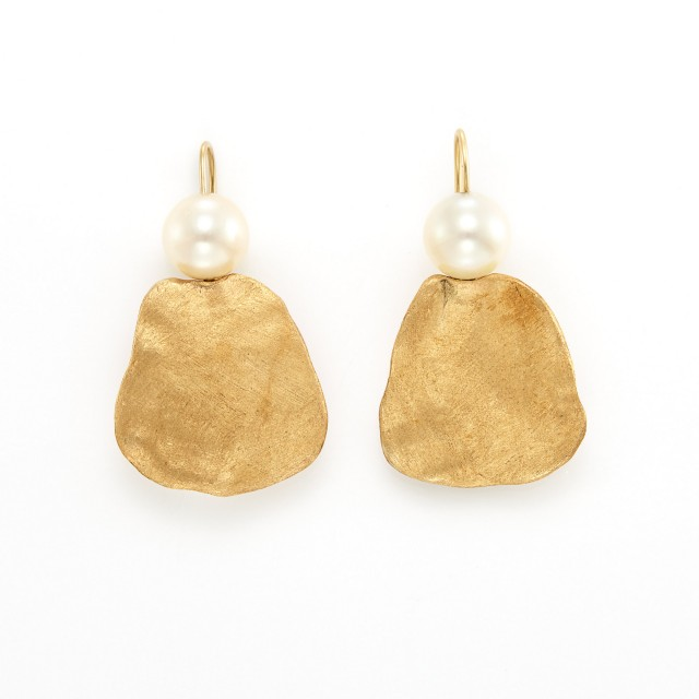 Pair of Gold and Cultured Pearl Pendant-Earrings, Linda Lee Johnson