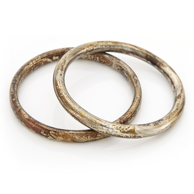 Two Silver Bangle Bracelets, Attributed to Linda Lee Johnson