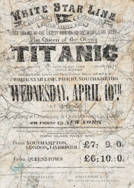 [TITANIC]  Rare White Star Line Titanic poster or railway warrant.