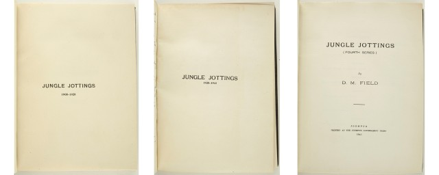 FIELD, D.[ONALD] M.  Jungle Jottings. 1908-[41]. A brief record of beasts slain by the author...