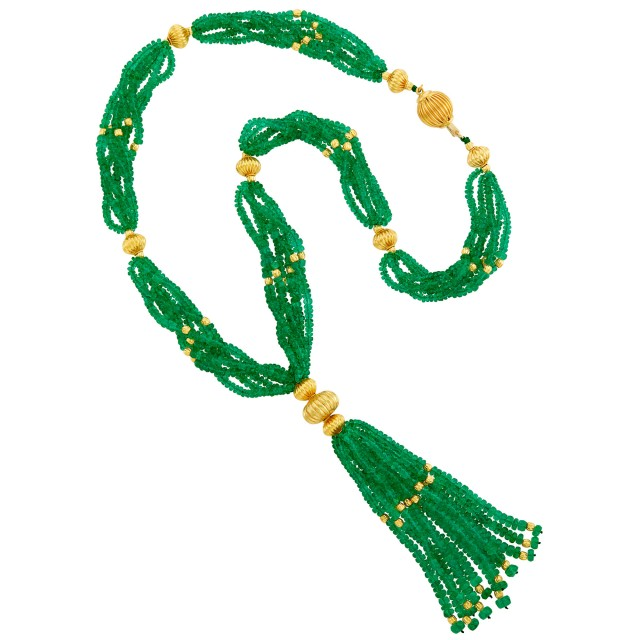 Six Strand Emerald and Fluted Gold Bead Sautoir