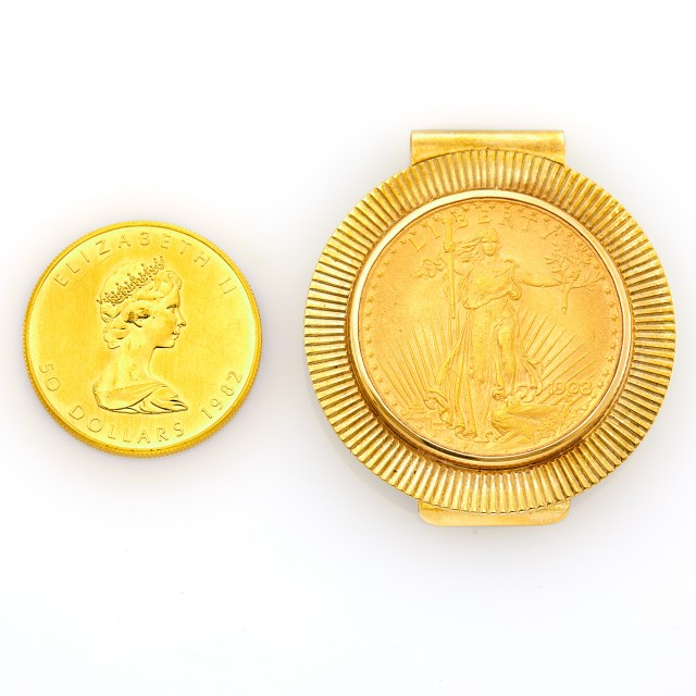 Gold Coin and Gold and Tiffany & Co. Gold Coin Money Clip