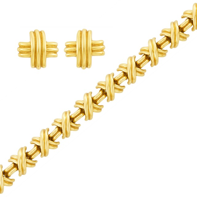 Tiffany & Co. Pair of Gold 'X' Earclips and Bracelet