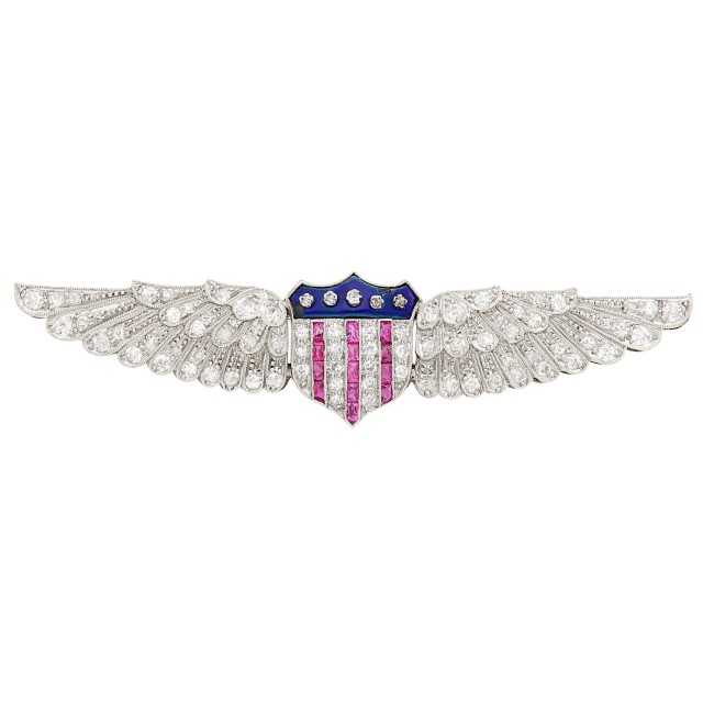Platinum, Diamond, Ruby and Blue Enamel Wing Brooch