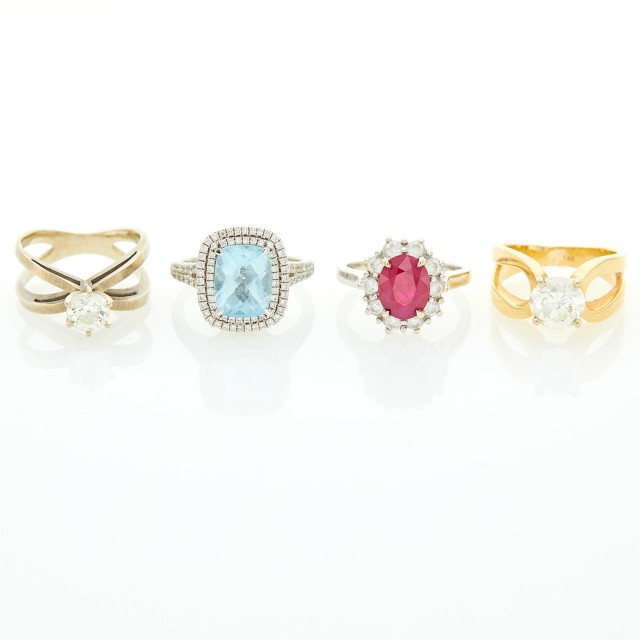 Four White and Yellow Gold, Diamond and Gem-Set Rings
