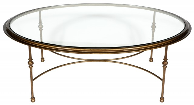 Brass and Glass Oval Low Table