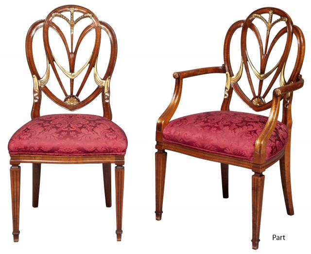 Set of Eight George III Style Stained Beechwood and Parcel-Gilt Dining Chairs