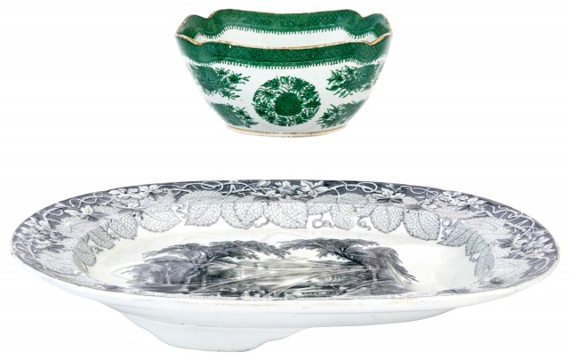 English Transferware Well and Tree Platter; Together with a Chinese Export Porcelain Green Fitzhugh Square Serving Bowl