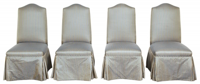 Set of Four Striped Silk-Upholstered Side Chairs