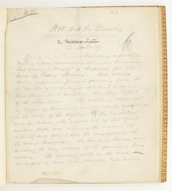 O. HENRY [=PORTER, WILLIAM SYDNEY]  Autograph manuscript signed of Art and the Broncho.