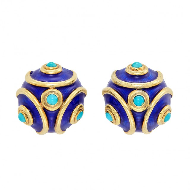 Pair of Gold, Blue Enamel and Turquoise Earclips, Tiffany & Co.
