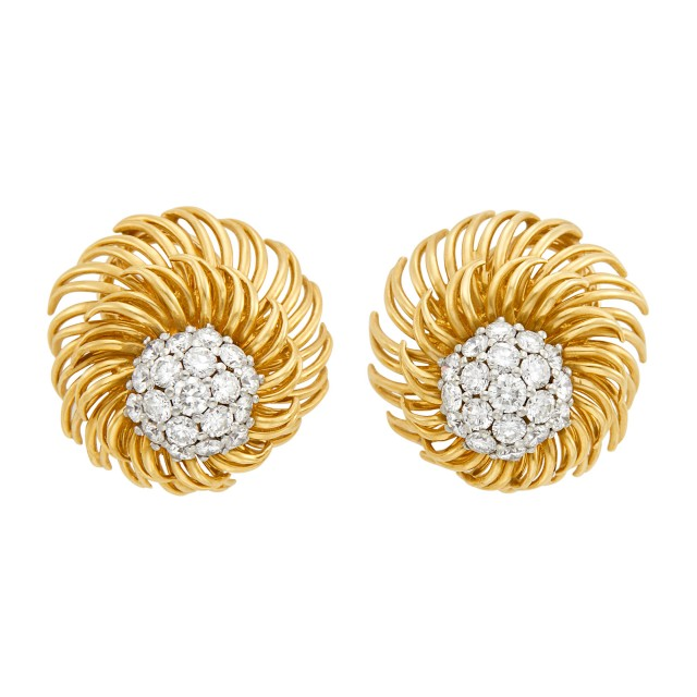 Pair of Gold and Diamond Dome Flower Earclips