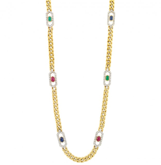 Long Gold, Diamond and Cabochon Colored Stone Curb Link Necklace