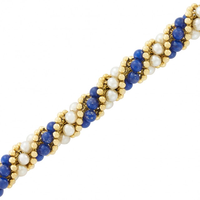 Gold, Cultured Pearl and Lapis Bead Torsade Bracelet