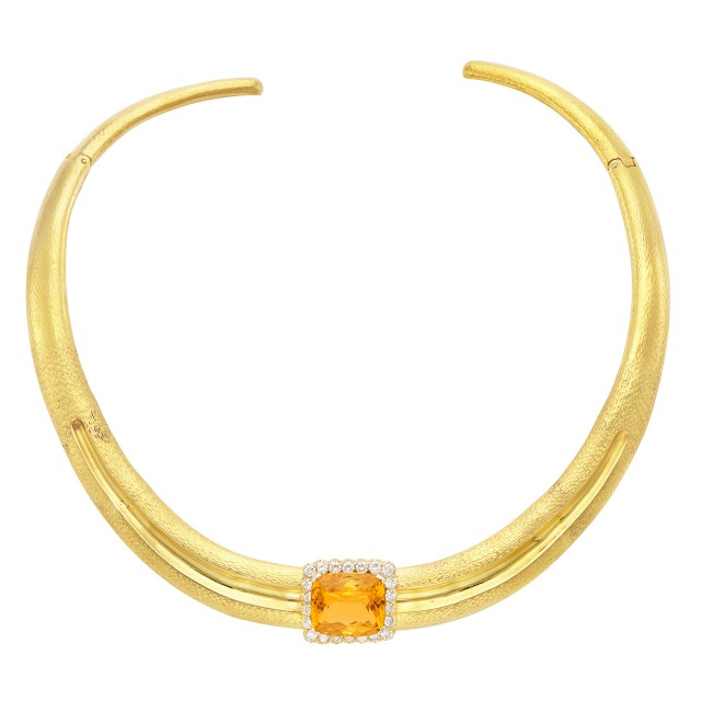 Hammered Gold, Citrine and Diamond Collar Necklace
