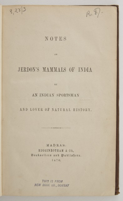 [McMASTER, ANDREW COOKE]  Notes on Jerdon's Mammals of India.