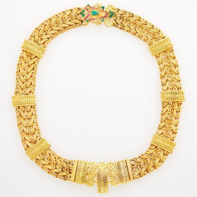 Indian High Karat Gold Necklace with Gem-Set Clasp