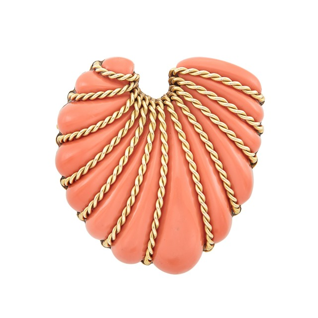 Gold and Coral Composite Shell Brooch, Seaman Schepps
