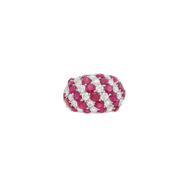 White Gold, Ruby and Diamond Bombé Ring