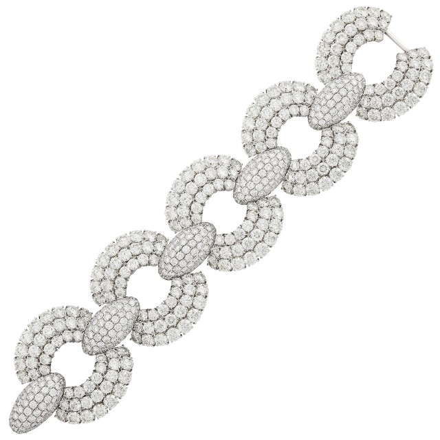 Wide White Gold and Diamond Link Bracelet