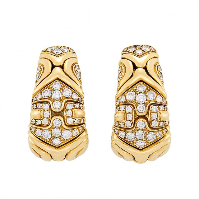 Pair of Gold and Diamond \'Alveare\' Hoop Earclips, Bulgari
