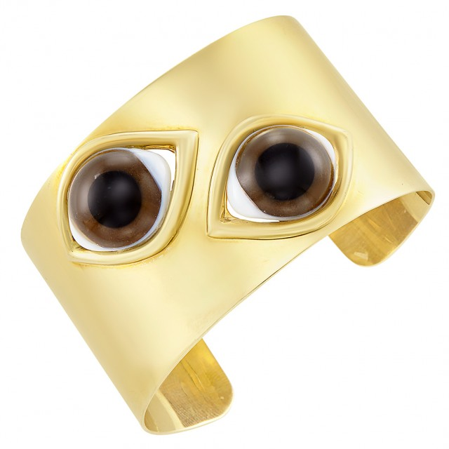 Gold and Bull\'s Eye Agate Cuff Bangle Bracelet, Faraone