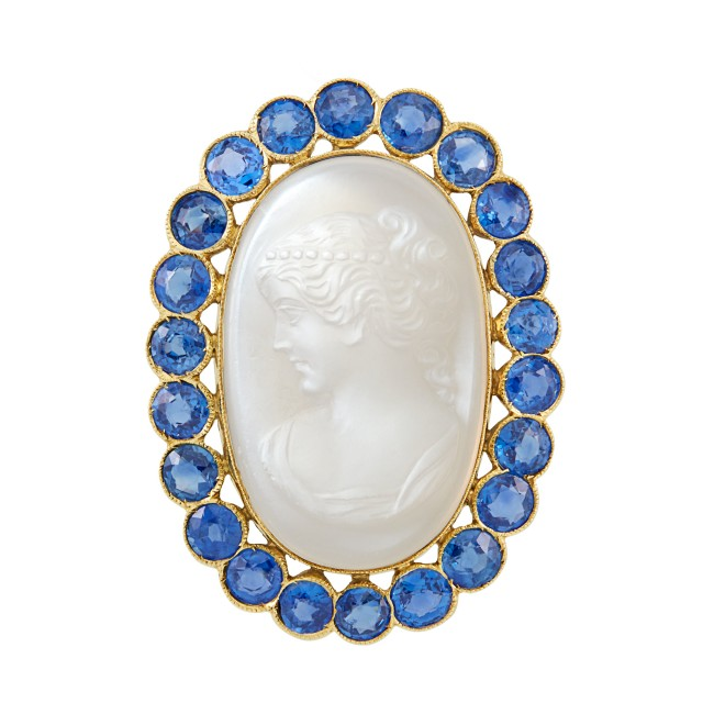 Gold, Carved Moonstone and Sapphire Brooch