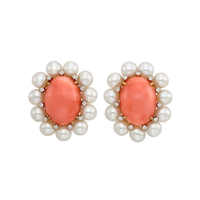 Pair of Gold, Coral, Cultured Pearl and Diamond Earclips