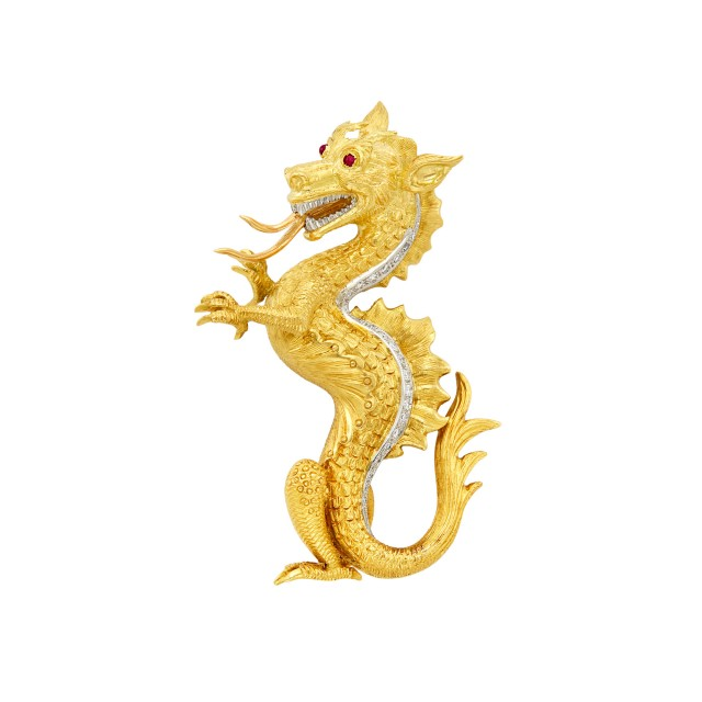 Tricolor Gold and Diamond Dragon Brooch