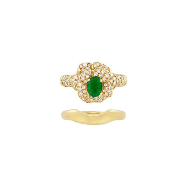 Gold, Emerald and Diamond Flower Ring and Guard Ring, Chanel, France