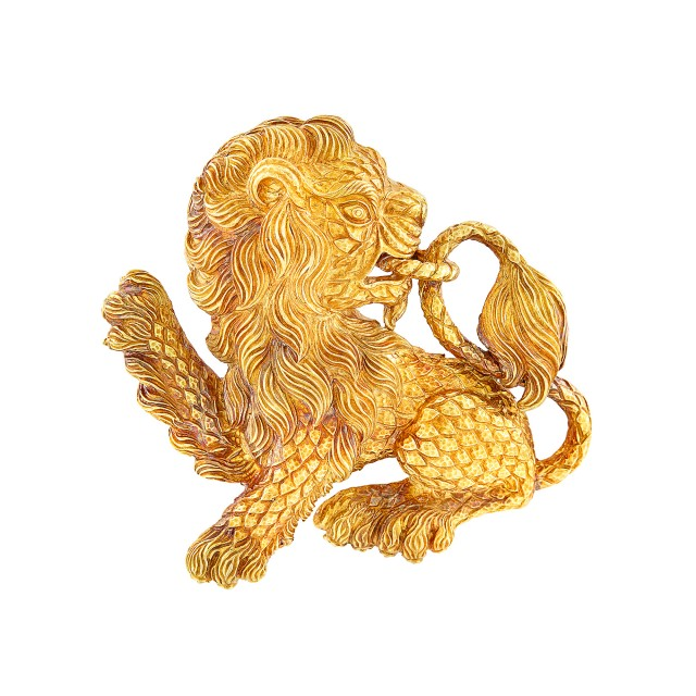 Gold Lion Brooch, David Webb