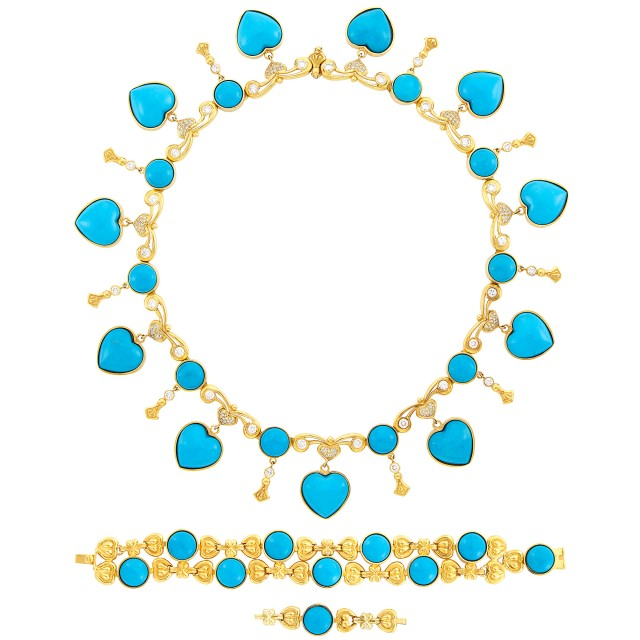 Gold, Turquoise Composite and Diamond Necklace and Bracelet, Vahe Natchayan