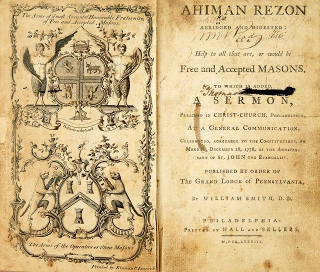[FREEMASONRY - DERMOTT, LAURENCE]  SMITH, WILLIAM. Ahiman Rezon Abridged and Digested: as a Help to all that are, or would be, Free and Accepted Masons.