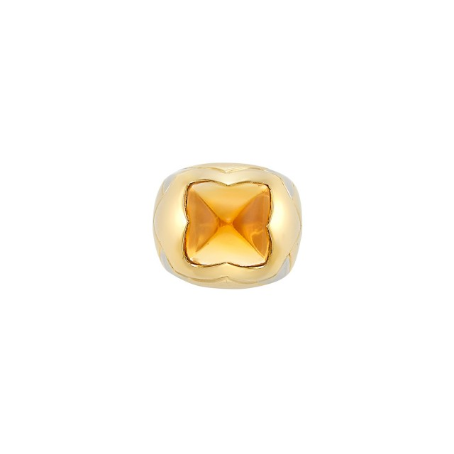 Two-Color Gold and Citrine \'Pyramid\' Ring, Bulgari