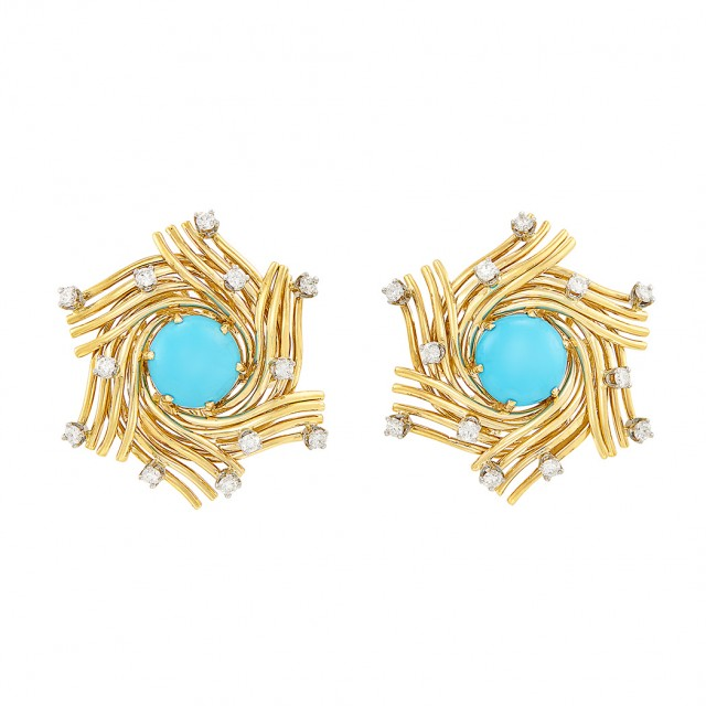 Pair of Gold, Platinum, Turquoise and Diamond Earclips, Tiffany and Co., Schlumberger