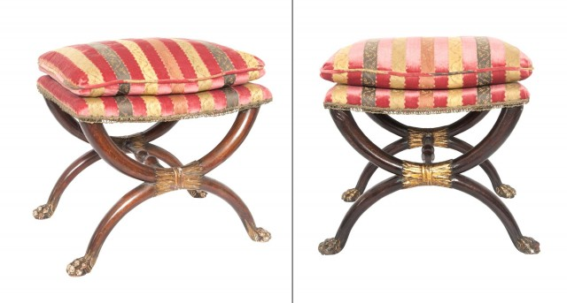 Pair of Neoclassical Faux-Grained and Parcel-Gilt Velvet-Upholstered Curule Stools