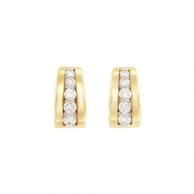 Pair of Gold and Diamond Earrings, Tiffany & Co.