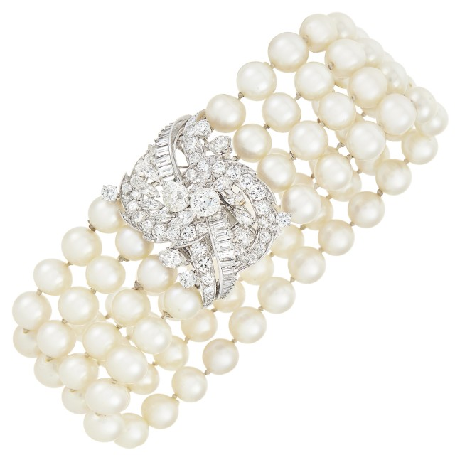 Four Strand Cultured Pearl Bracelet with Platinum and Diamond Clasp, Monture Mauboussin, France
