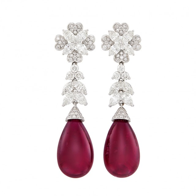 Pair of White Gold, Diamond and Rubellite Pendant-Earrings