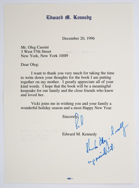 KENNEDY, EDWARD  Large group of letters and notes to Oleg Cassini.