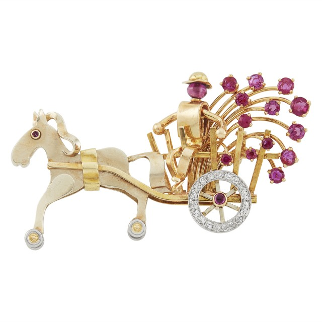 Gold, Platinum, Low Karat Gold, Ruby and Diamond Horse and Carriage Pin