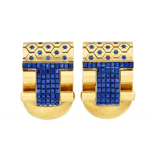 Pair of Gold and Sapphire Clips, France