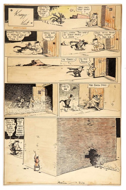 HERRIMAN, GEORGE (1881-1944)  Krazy Kat [Ignatz on a Motorcycle].