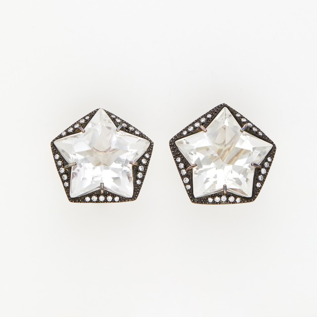 Pair of White Gold, Silver, Quartz and Diamond Star Earclips